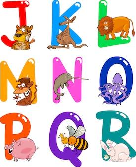 Alphabet de dessin animé avec des animaux
