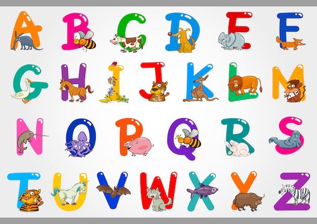 Alphabet de dessin animé avec des illustrations d'animaux