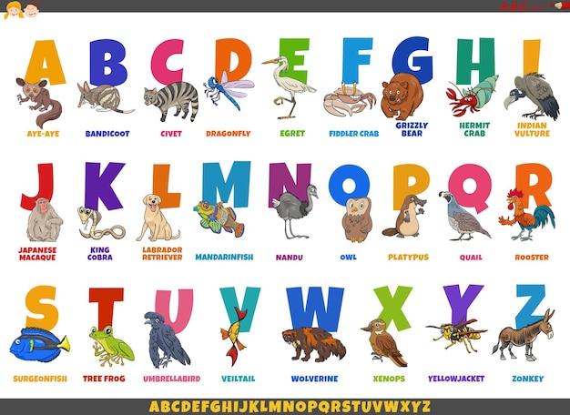 Alphabet de dessin animé avec des personnages d'animaux comiques