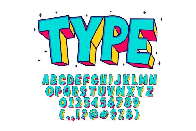 Alphabet de dessin animé rétro, style de police fantaisie