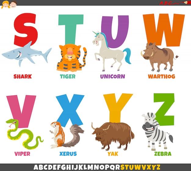 Alphabet de dessin animé serti de personnages animaux
