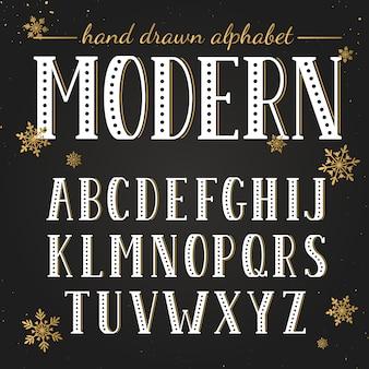 Alphabet dessiné à la main. lettres majuscules et symboles sur tableau noir.