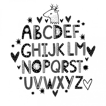 Alphabet dessiné main mignon avec des coeurs