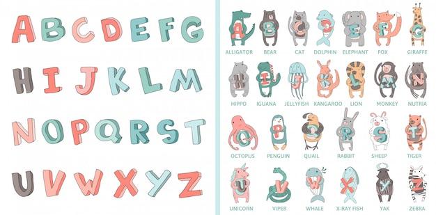 Alphabet dessiné à la main, police, lettres.