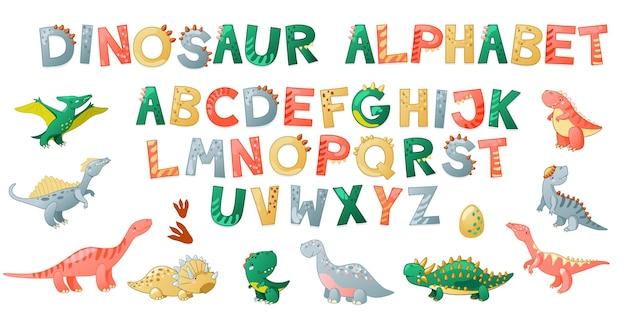 Alphabet de dinosaure mignon de dessin animé. police dino avec des lettres. enfants illustration vectorielle pour t-shirts, cartes, affiches, événements de fête d'anniversaire, conception de papier, conception d'enfants et de crèche