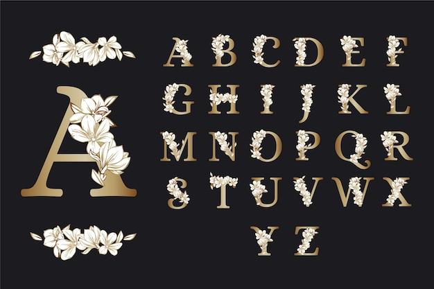 Alphabet doré fleurs élégantes