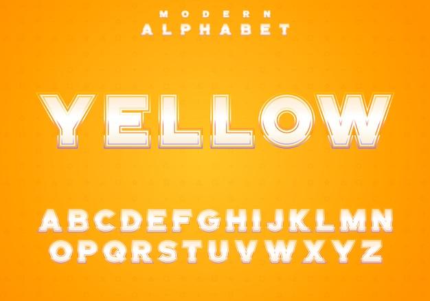 Alphabet doré sur fond jaune. jeu de caractères royaux, lettres faciles à utiliser dans un style moderne riche avec un trait de dégradé lumineux.