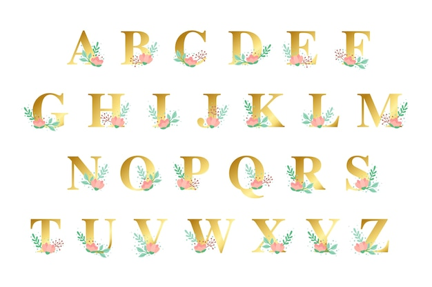 Alphabet doré avec thème de fleurs dorées
