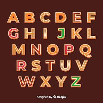 Alphabet droit en pain d'épice
