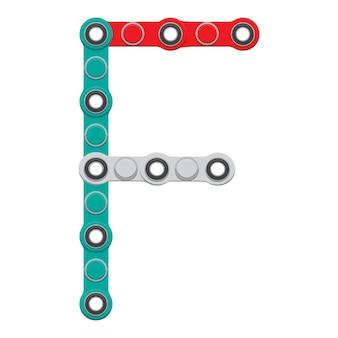 Alphabet du nouveau jouet anti-stress populaire spinner. lettre f. illustration vectorielle.