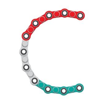 Alphabet du nouveau jouet anti-stress populaire spinner. lettre c. illustration vectorielle.