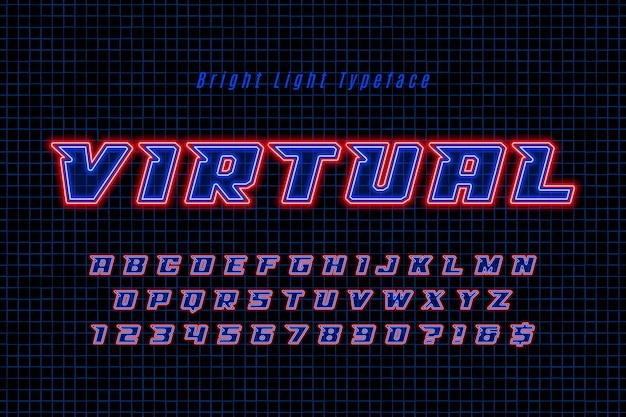 Alphabet dynamique futuriste, police extra brillant.