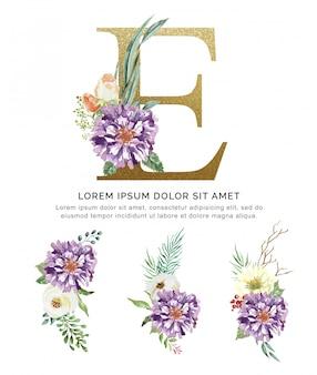 Alphabet e bouquet de fleurs et feuilles collection aquarelle.