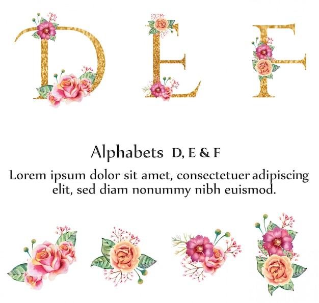 Alphabet d, e, f avec fleur
