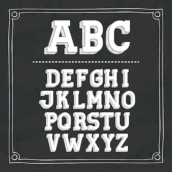 Alphabet écrit sur la conception de tableau