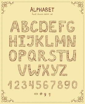 Alphabet d'écriture manuscrite, police dessinée à la main de vecteur dans un style vintage