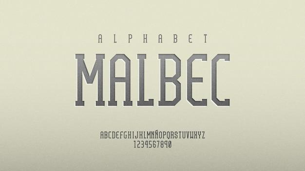 Alphabet avec effet dimensionnel