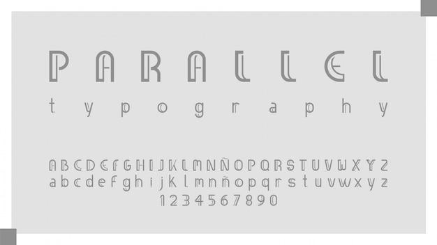 Alphabet élégant classique avec des lettres et des chiffres