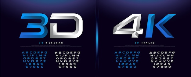 Alphabet élégant en métal chromé argent et bleu en 3d
