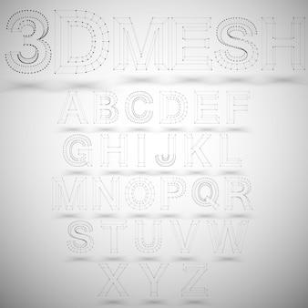 Alphabet élégant de trois dimensions de maille