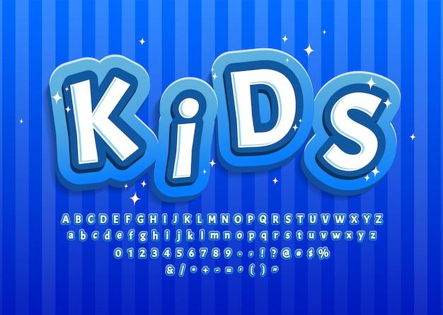 Alphabet enfant dessin animé bleu, effet de texte