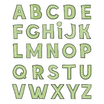 Alphabet enfantin mignon dessiné à la main