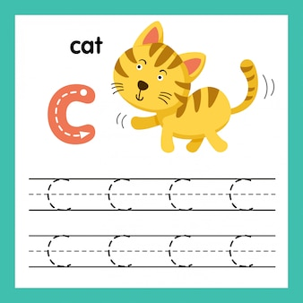 Alphabet c exercice avec illustration de vocabulaire de dessin animé