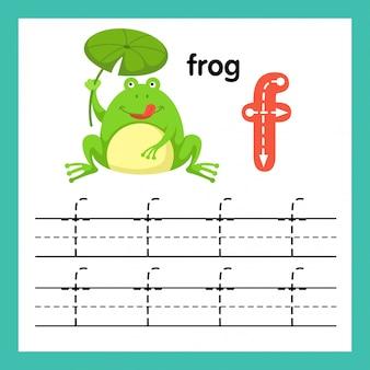 Alphabet f exercice avec illustration de vocabulaire de dessin animé, vector