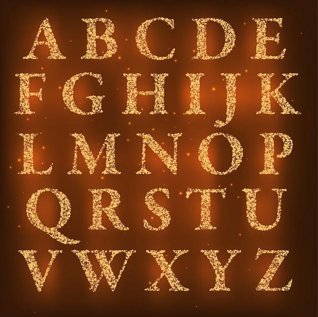 Alphabet faite de petits points lumineux