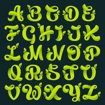 Alphabet avec des feuilles vertes.