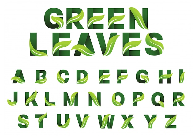 Alphabet feuilles vertes