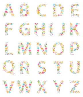 Alphabet de fleurs colorées