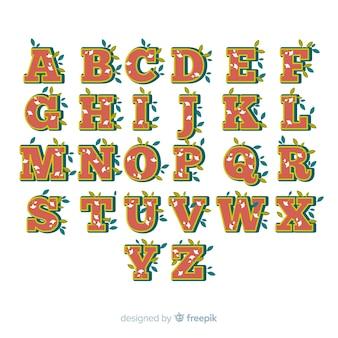 Alphabet floral dans le style des années 60