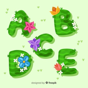 Alphabet floral dessiné main coloré