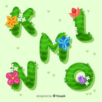 Alphabet floral dessiné main coloré