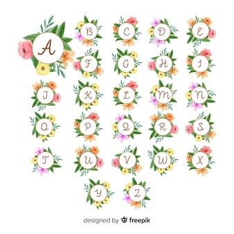 Alphabet floral dessiné à la main
