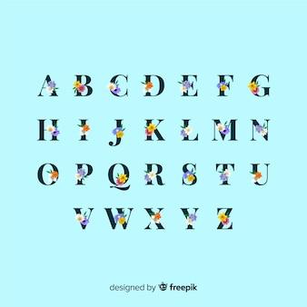 Alphabet floral réaliste