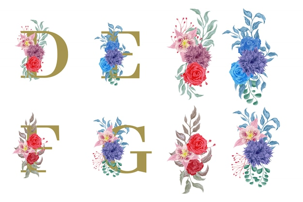 Alphabet floral serti d'éléments de fleurs aquarelles