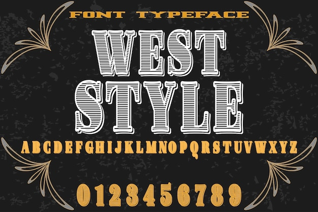 Alphabet font main vecteur nommé style ouest