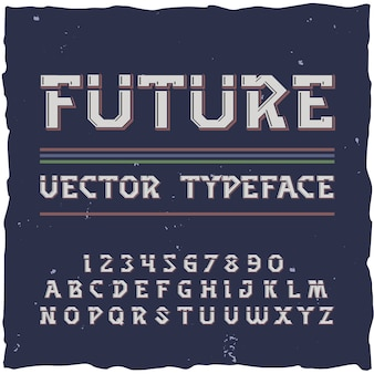 Alphabet futur avec des éléments de police de rétrofuturisme isolés chiffres et lettres