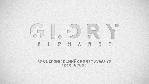 Alphabet futuriste avec effet dimensionnel