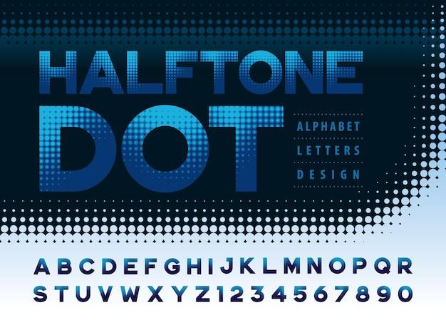 Alphabet futuriste lettres et chiffres points de demi-teintes polices d'effets police de flou de points de dégradé