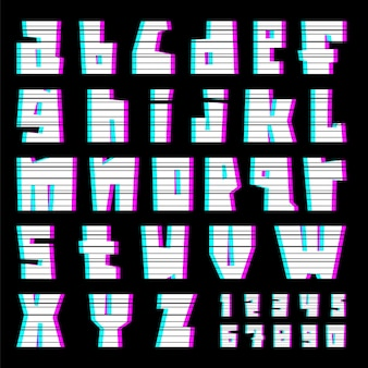 Alphabet glitch avec interférence
