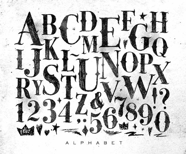 Alphabet gothique vintage