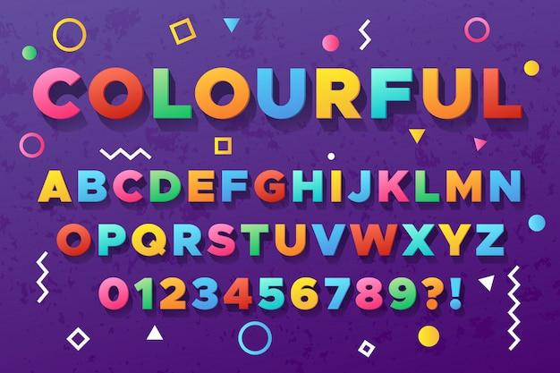 Alphabet gras coloré. police de vecteur de couleur vive ancienne urbaine