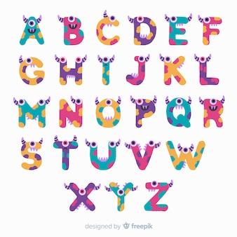 Alphabet halloween avec personnages drôles de monstres