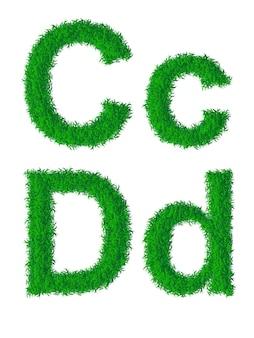 Alphabet d'herbe verte, grandes et petites lettres c, d
