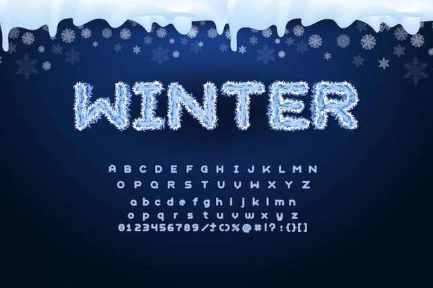 Alphabet hiver de vecteur avec des flocons de neige.
