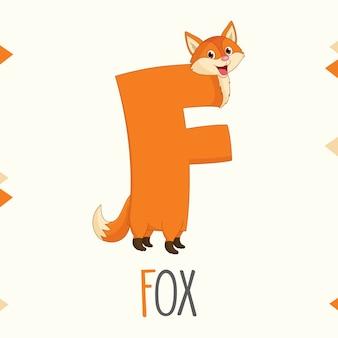 Alphabet illustré lettre f et fox
