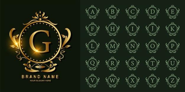 Alphabet initial de collection avec ornement de luxe ou modèle de logo doré cadre floral.